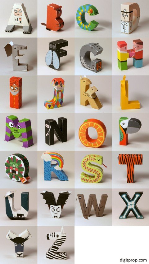 Printable alphabet photo booth props by Digitprop