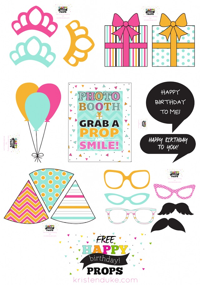 Printable birthday photo booth props by Kristen Duke