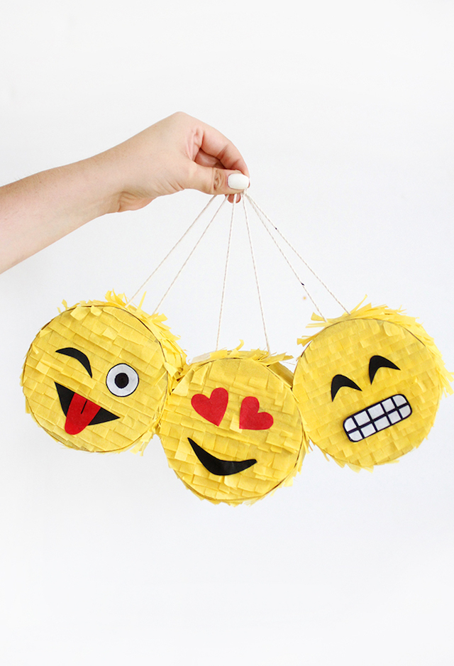 DIY emoji pinatas by I Spy DIY