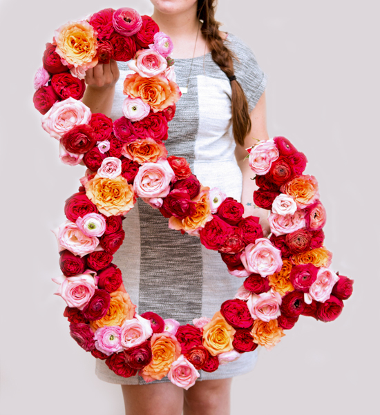 DIY giant fresh flower ampersand by Paper & Stitch