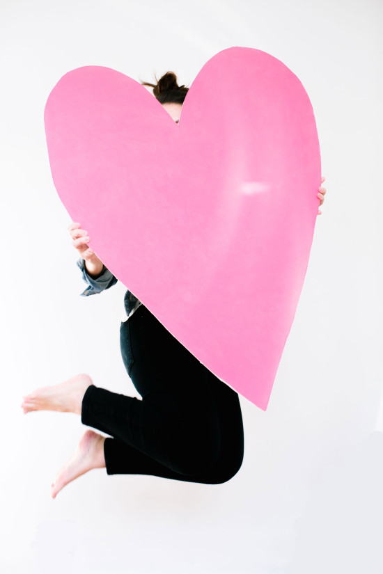 DIY giant pink heart by Paper & Stitch
