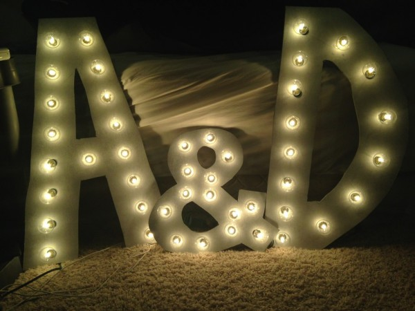 DIY photo booth marquee letters by The Budget Savvy Bride