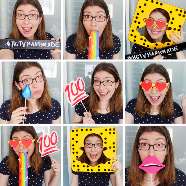 DIY Snapchat-inspired photo booth props by Karen Kavett
