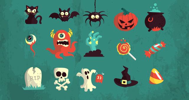 Halloween vector art photo booth props by Pixeden