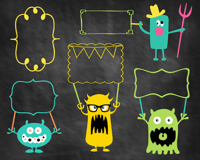 Printable monster photo booth props by The 36th Avenue