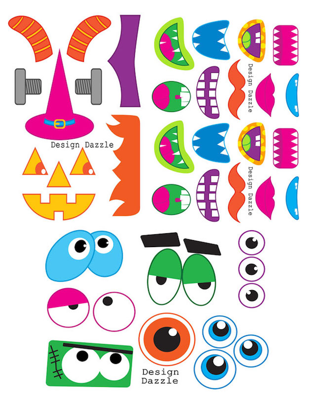 Monster printable photo booth props by Design Dazzle