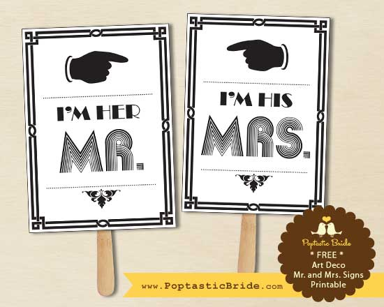 Mr and Mrs signs by Poptastic Bride
