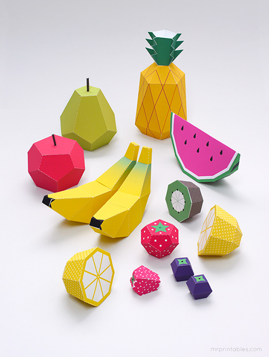 Paper fruit printable photo booth props by Mr Printables
