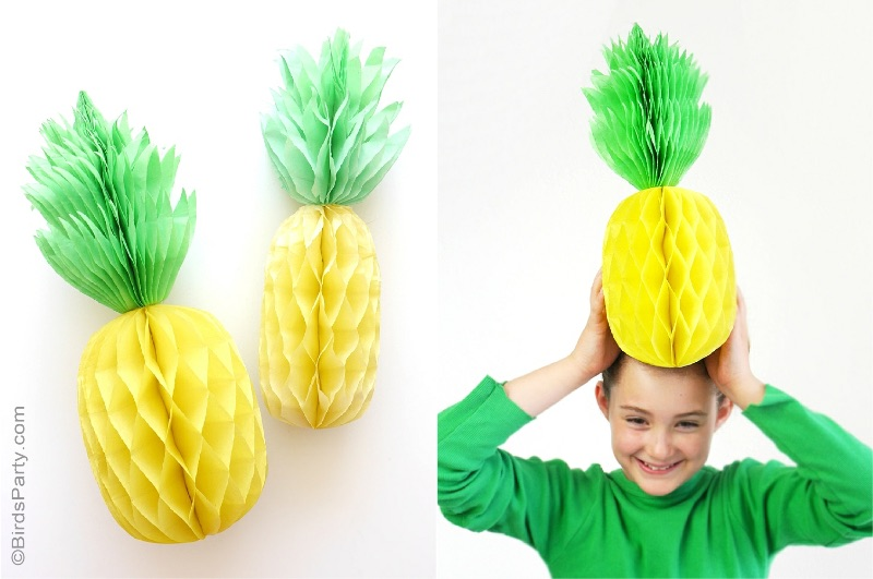 DIY pineapple honeycomb photo booth props by Bird's Party