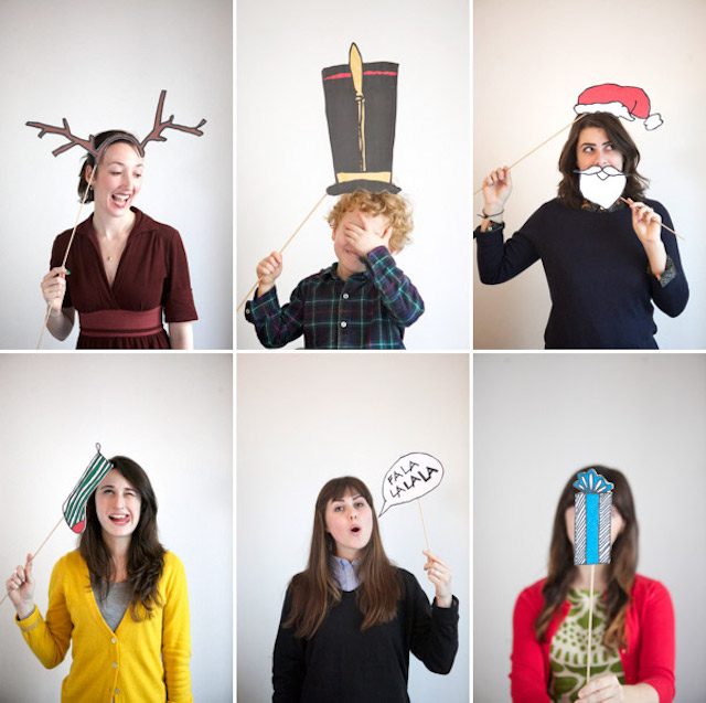 Printable Christmas photo booth props by Oh Happy Day