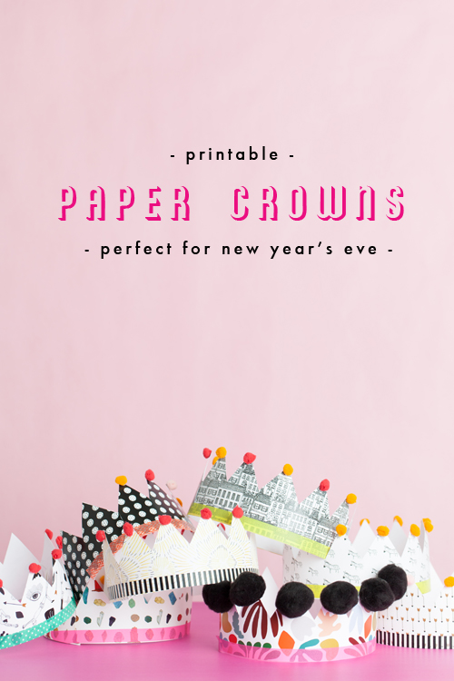 Printable paper crowns for New Year's Eve photo booth