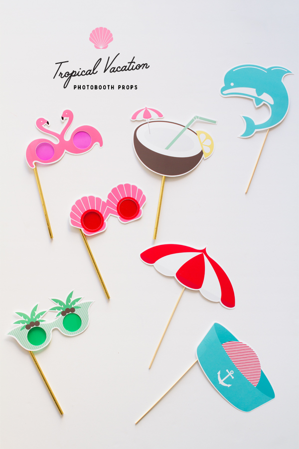 Printable tropical vacation photo booth props by Oh Happy Day