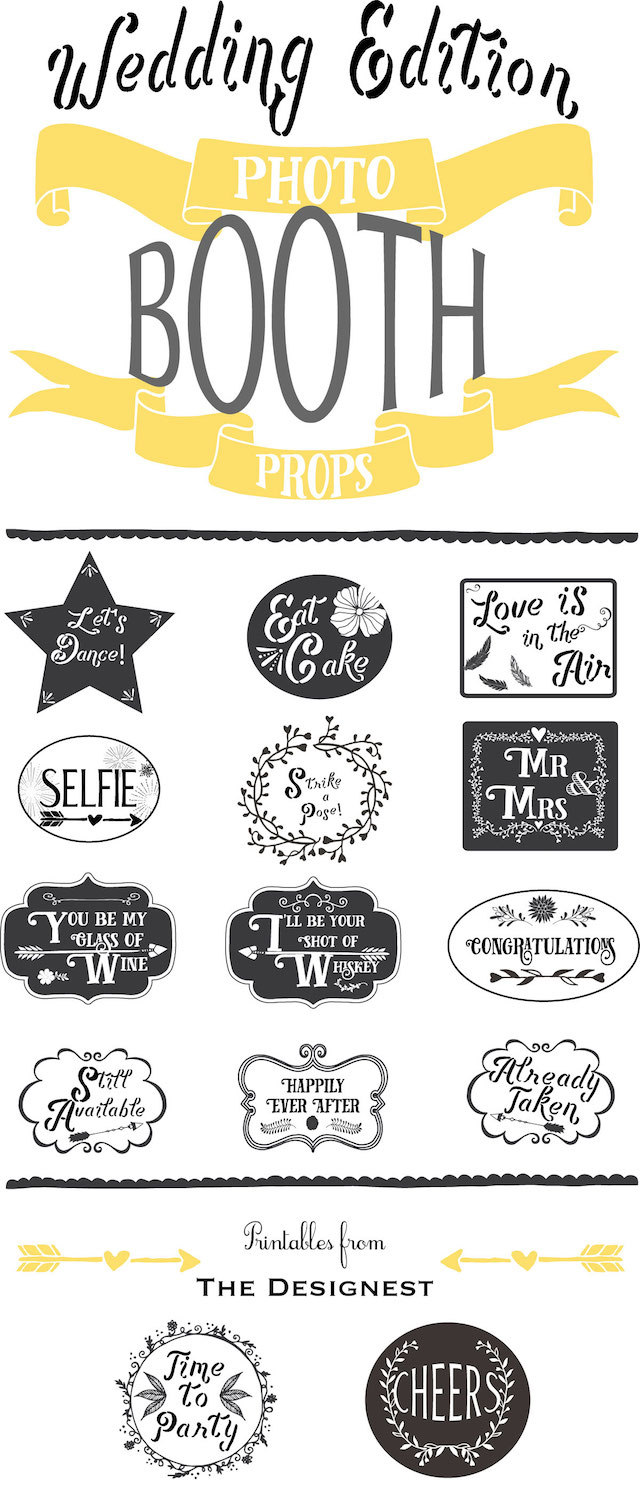 Printable wedding photo booth props by The Designest