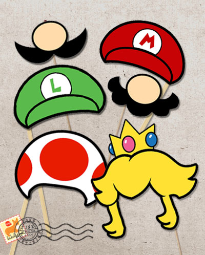 Super Mario printable photo booth props by Babalisme