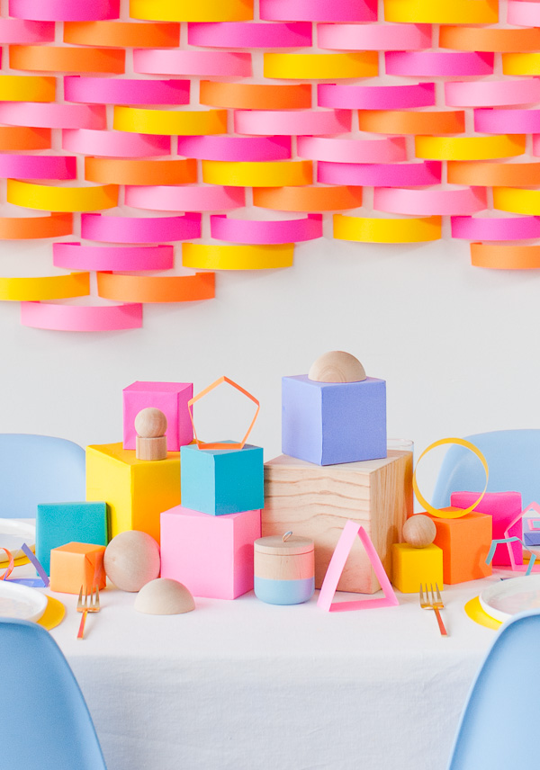 Colourful paper photo booth backdrop
