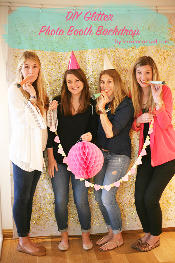 DIY glitter photo booth backdrop