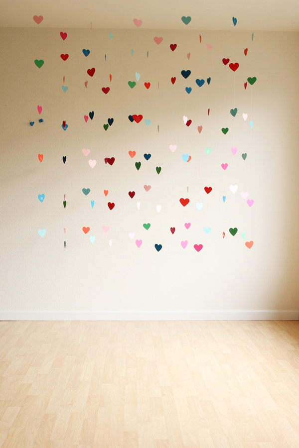 DIY hanging hearts photo backdrop