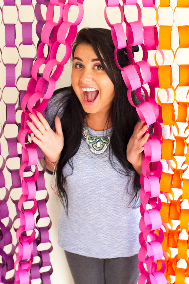 DIY paper chain photo booth backdrop