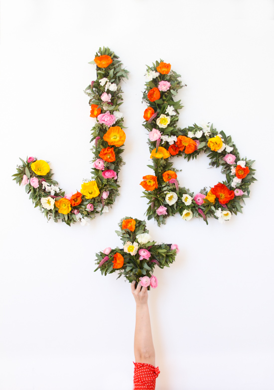 Flower typography photo booth backdrop