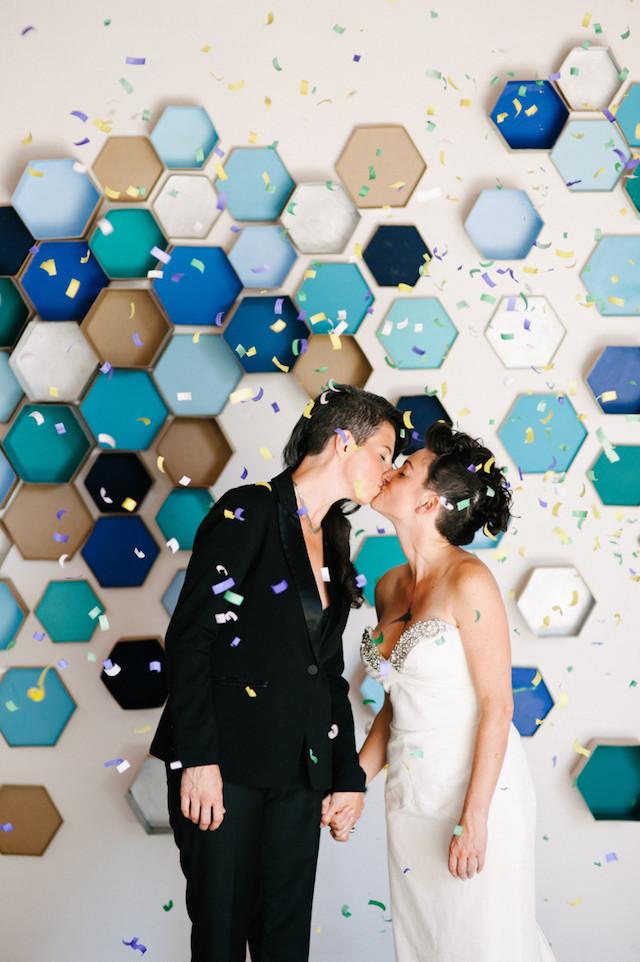Geometric hexagon boxes wedding backdrop