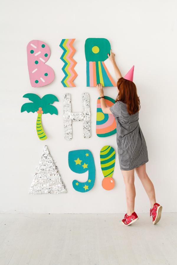 Giant cardboard letter photo backdrop
