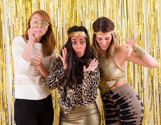 DIY gold foil fringe backdrop