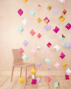 Hanging diamond garland backdrop