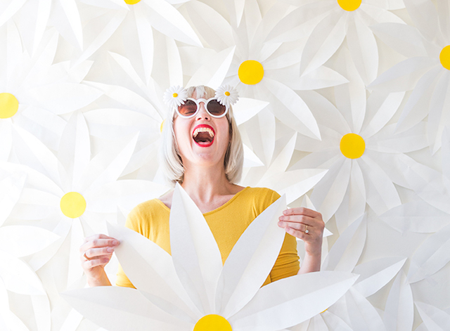 Paper daisy photo backdrop