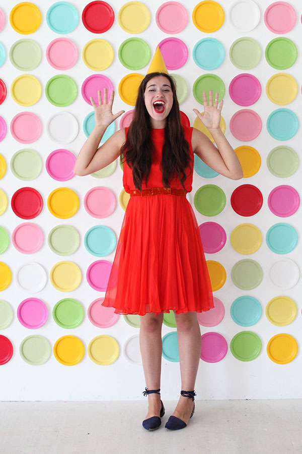 Colourful paper plate photo backdrop
