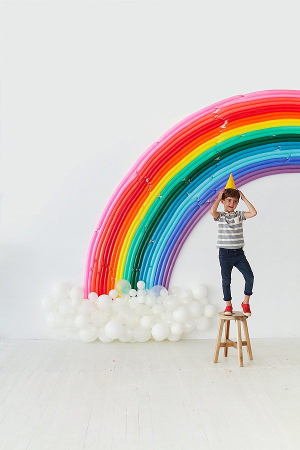 Rainbow balloon party backdrop