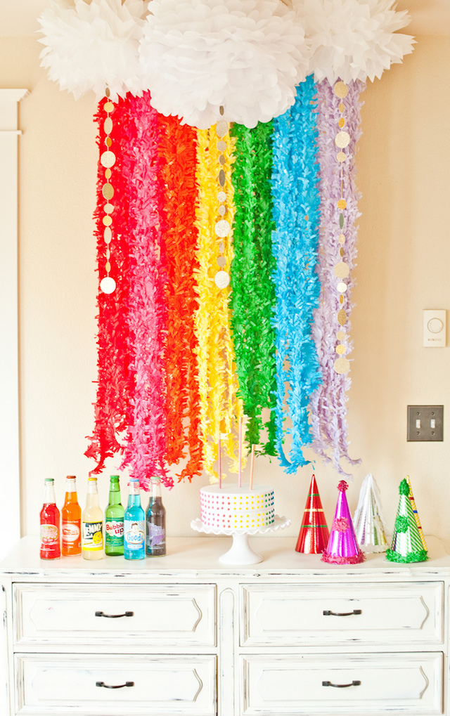 Rainbow fringe garland photo backdrop
