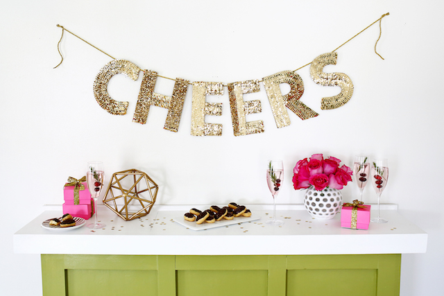 Sequin letter garland backdrop