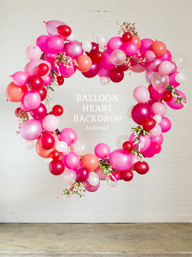 Balloon heart Valentine's Day photo booth backdrop
