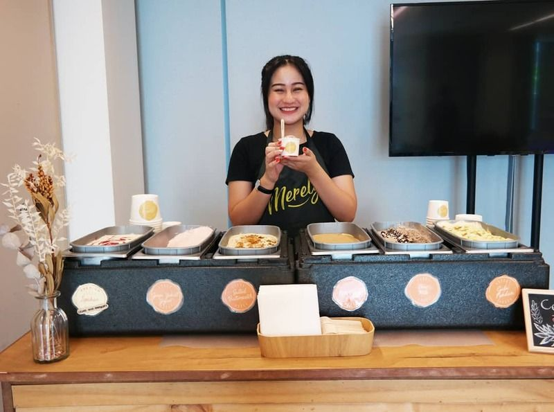 Woman serving handmade ice cream at a dinner and dance