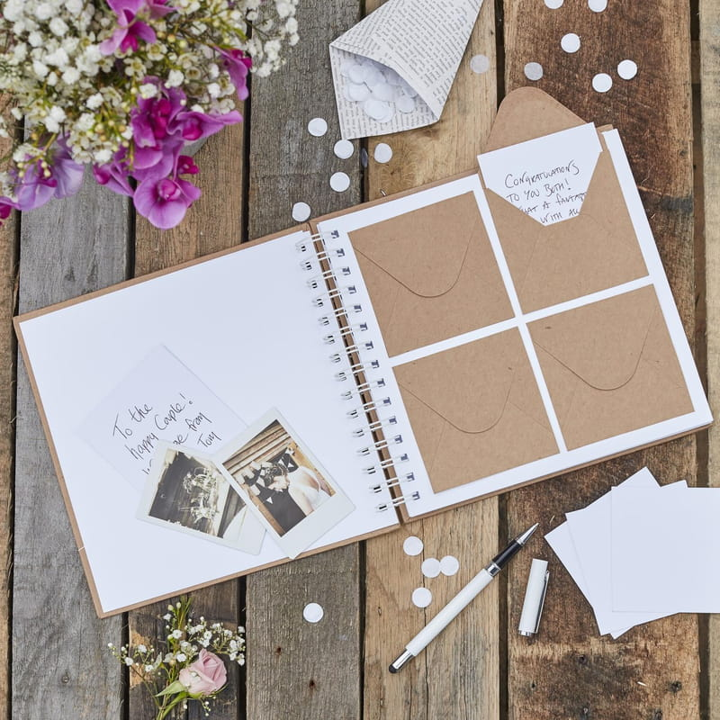 Wedding guest book with photos and handwritten note