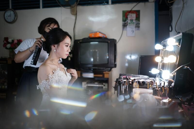 Makeup artist at a virtual wedding