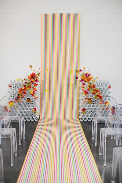Colourful backdrop and carpet for photo booth