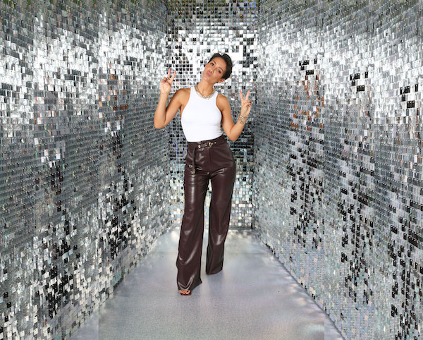 Silver shimmer wall installation for photo booth