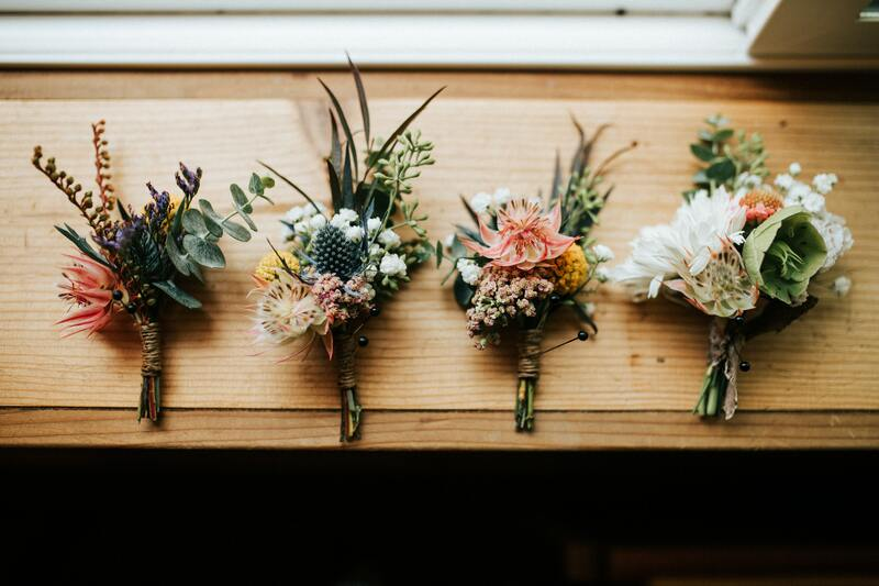 Bouquets of flowers on a window ledge