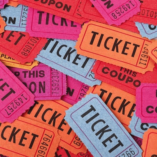 Raffle tickets for a virtual event