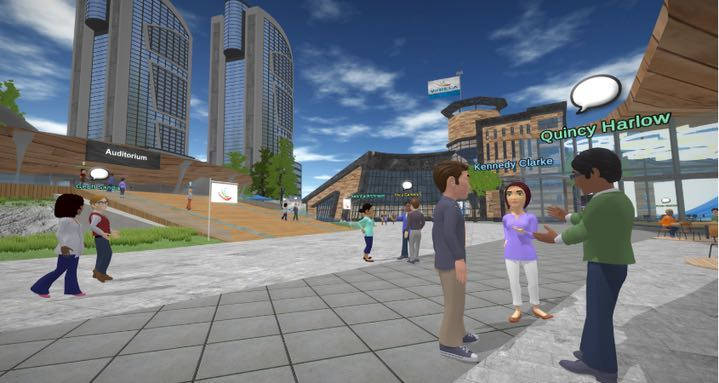 Virtual avatars interacting at an online event