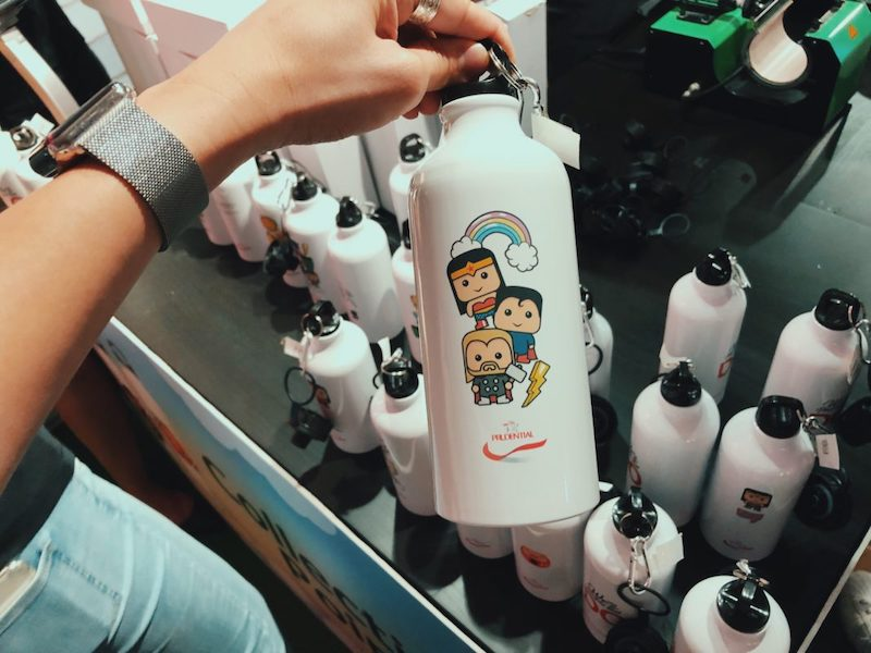 Hand holding custom printed water bottle