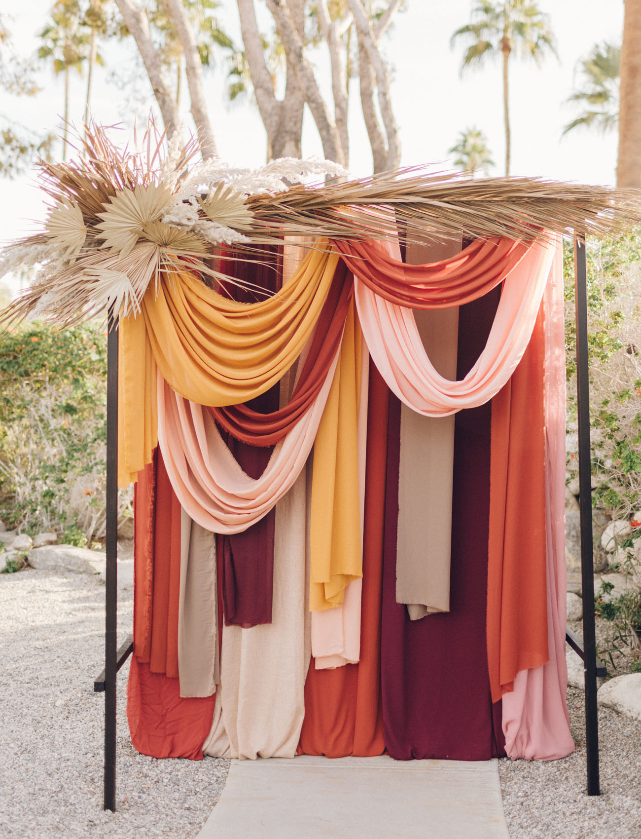Earth Neutral Easy Tone cloth fabric hanging from frame decorated for photoshoot wedding photobooth DIY home-made custom