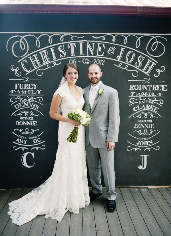 Husband Wife Couple standing posing together against chalkboard drawn DIY vertical backdrop for photoshoot photobooth
