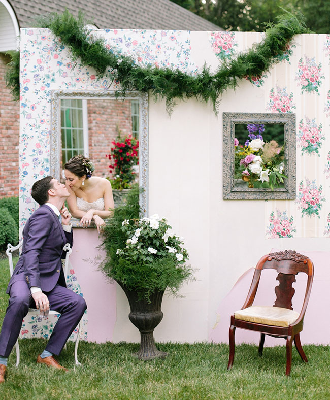 Window frame peeking out couple wedding shot for photoshoot photobooth outdoors garden design