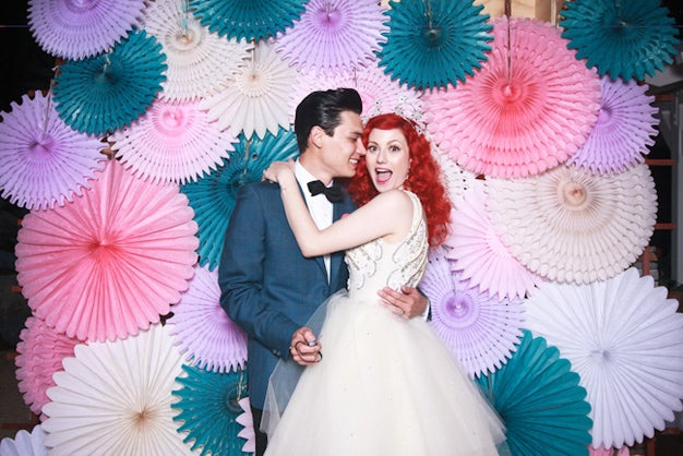 Parasol decorated backdrop background for couples wedding event corporate photoshoot photobooth scenic decorative art piece DIY homemade affordable