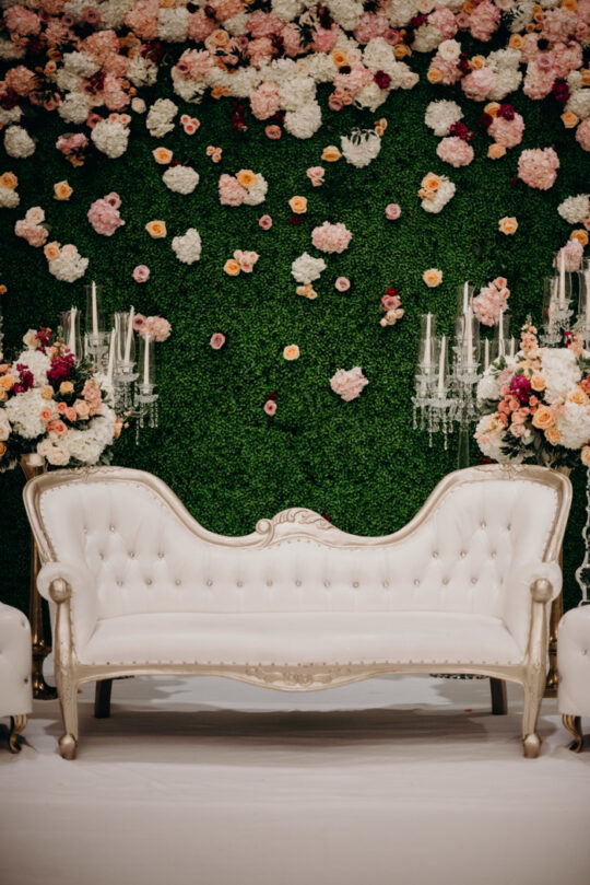 Wedding Chair Lounge Sofa Display against backdrop photoshoot for photobooth