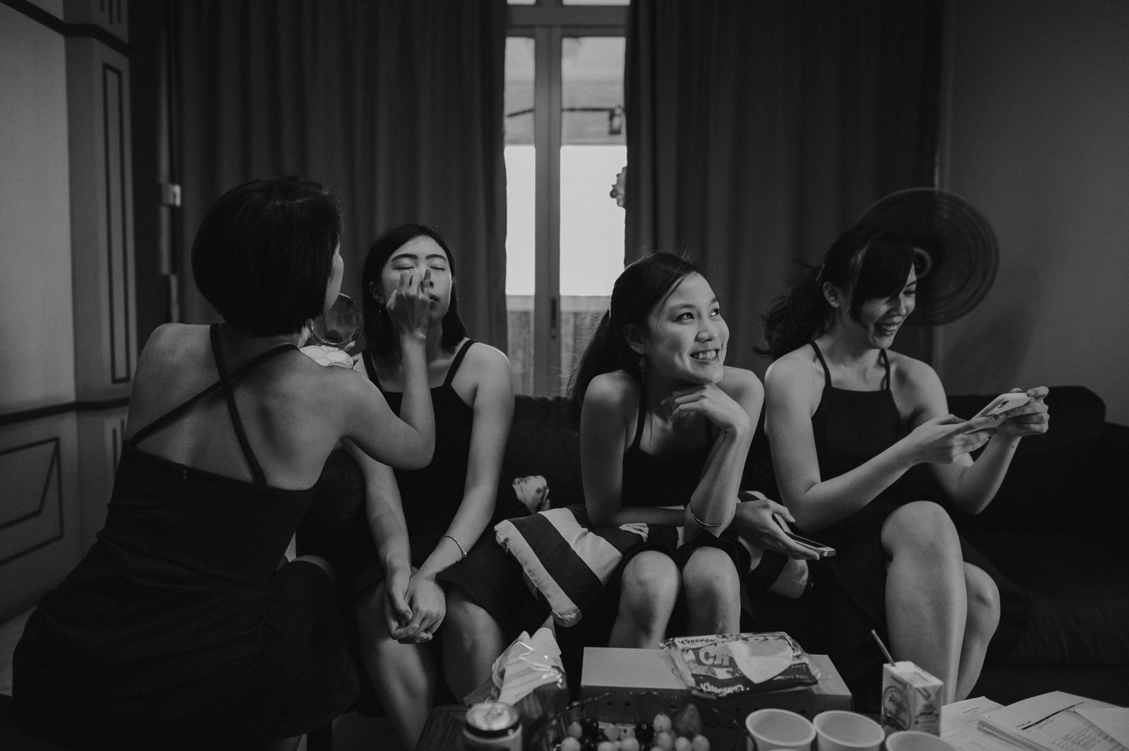 Bridesmaids preparing and getting ready for wedding pre-wedding photoshoot photography