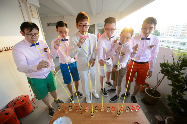 Groom and Groomsmen participating in their games before wedding photoshoot photography