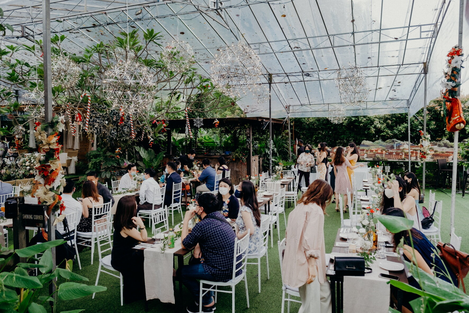 Wide shot of the wedding venue for wedding ceremony reception photograph wedding photography